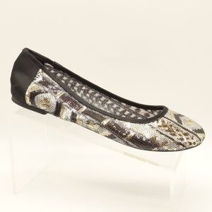 NEW LUCKY BRAND Black Silver Sequined Ballet Flats